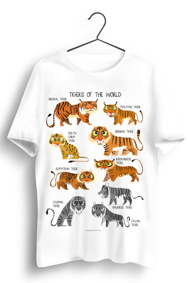 Tigers Of The World A3 Print White Tshirt