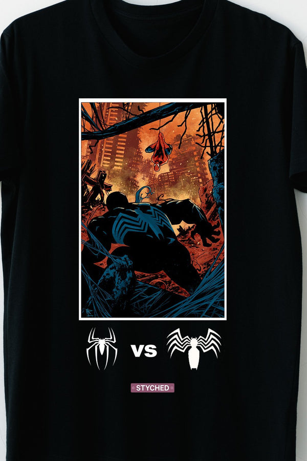 Spiderman Vs Venom - Marvel Cinematic Universe - Comic Style Printed Tee