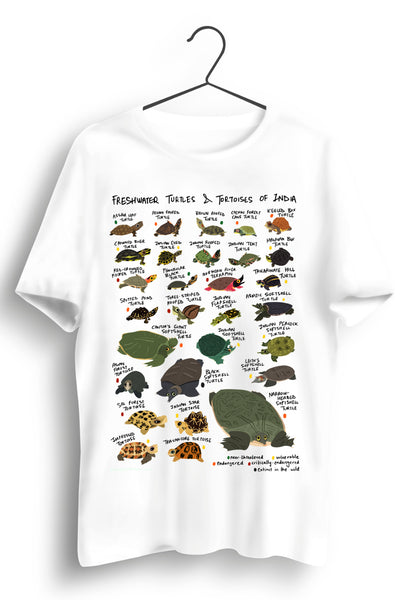 Turtles Of India A3 Print White Tshirt