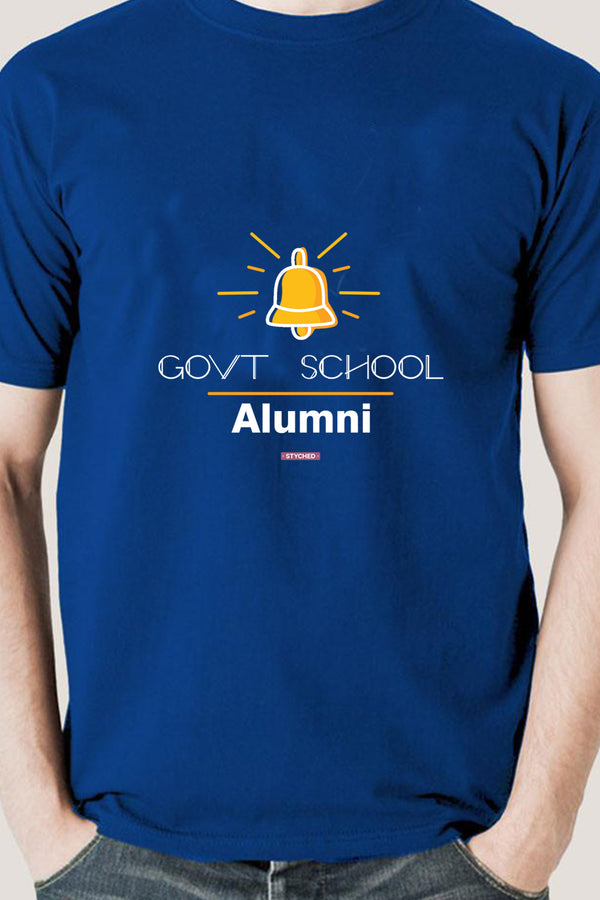 Save Govt. Schools Movement Tee - Styched In India Graphic T-Shirt Blue Color