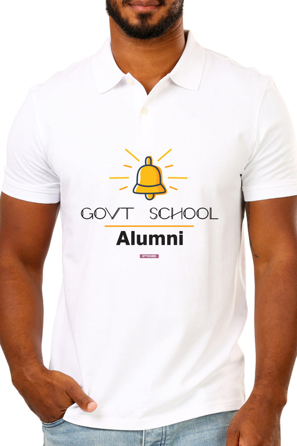 Save Govt. Schools Movement Tee - Styched In India Graphic Polo T-Shirt White