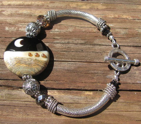 Night Sky lampglass & hand tooled sterling bracelet