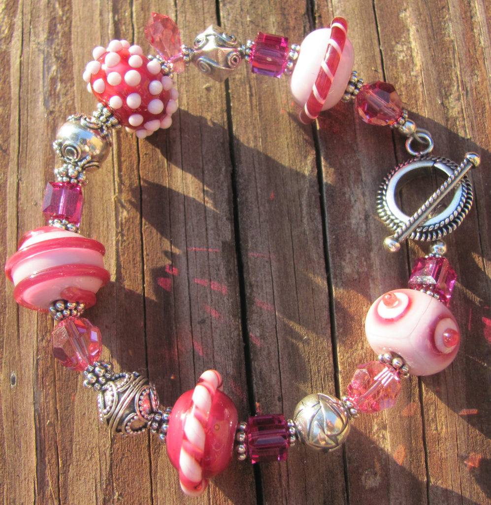 Pretty in Pink lamp glass bracelet