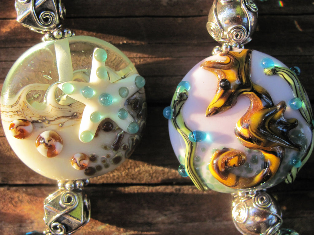 Starfish lampglass & hand tool sterling bracelet