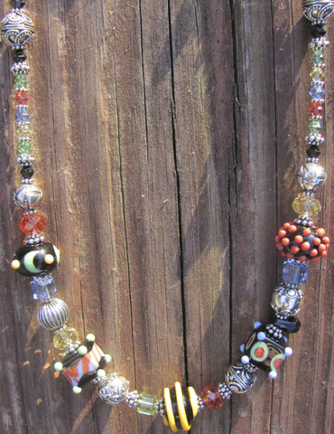 Starry, Starry Night 5 bead lampglass necklace