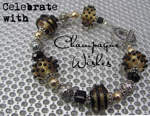 Champagne Wishes lampglass bracelet