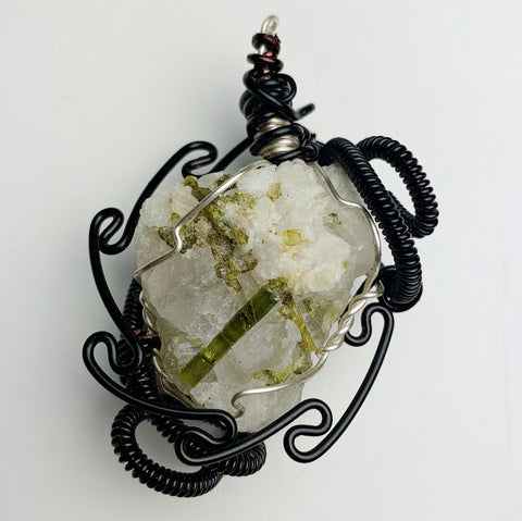 "Green Tourmaline in Quartz ""Frosty Radiance"""