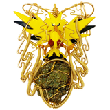 "Pokemon Zapdos Figurine サンダRainbow Pyrite ""Zapdos Legendary"". (Cleansed with 3 nights of base chakra meditation). 4"" length stone pendant. Adjustable black necklace included. Wrapped in 24 k gold color copper. Blocks energy leaks and mends auric tears. Promotes protection from negativity. Holds the frequency power of prophecy."