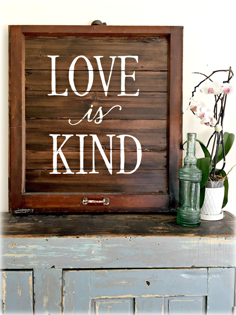 Love is Kind Reclaimed Barn Wood in Vintage Frame Art