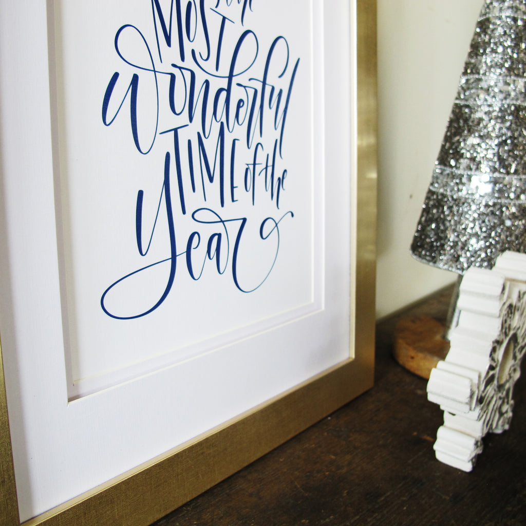 It's The Most Wonderful Time Of The Year Hand Lettered Christmas Art Print