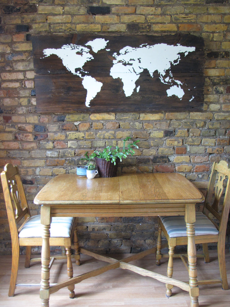 World Map Reclaimed Wood Art