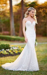French Lace Wedding Dress With Scalloped Train