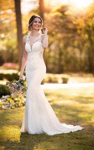Modern Crepe Wedding Dress With Scalloped Train