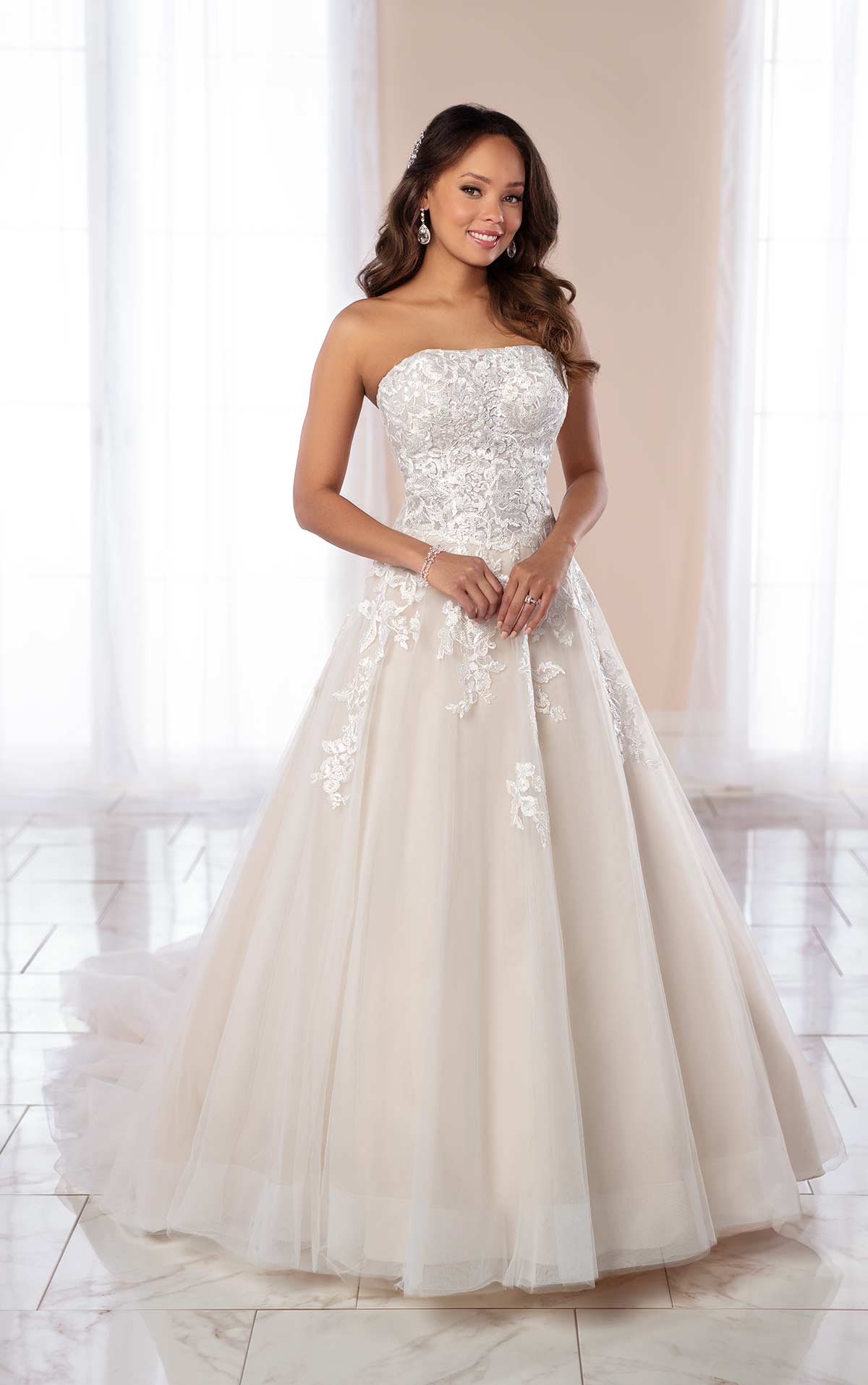 Strapless Ballgown with Floral Lace Detail By Stella York