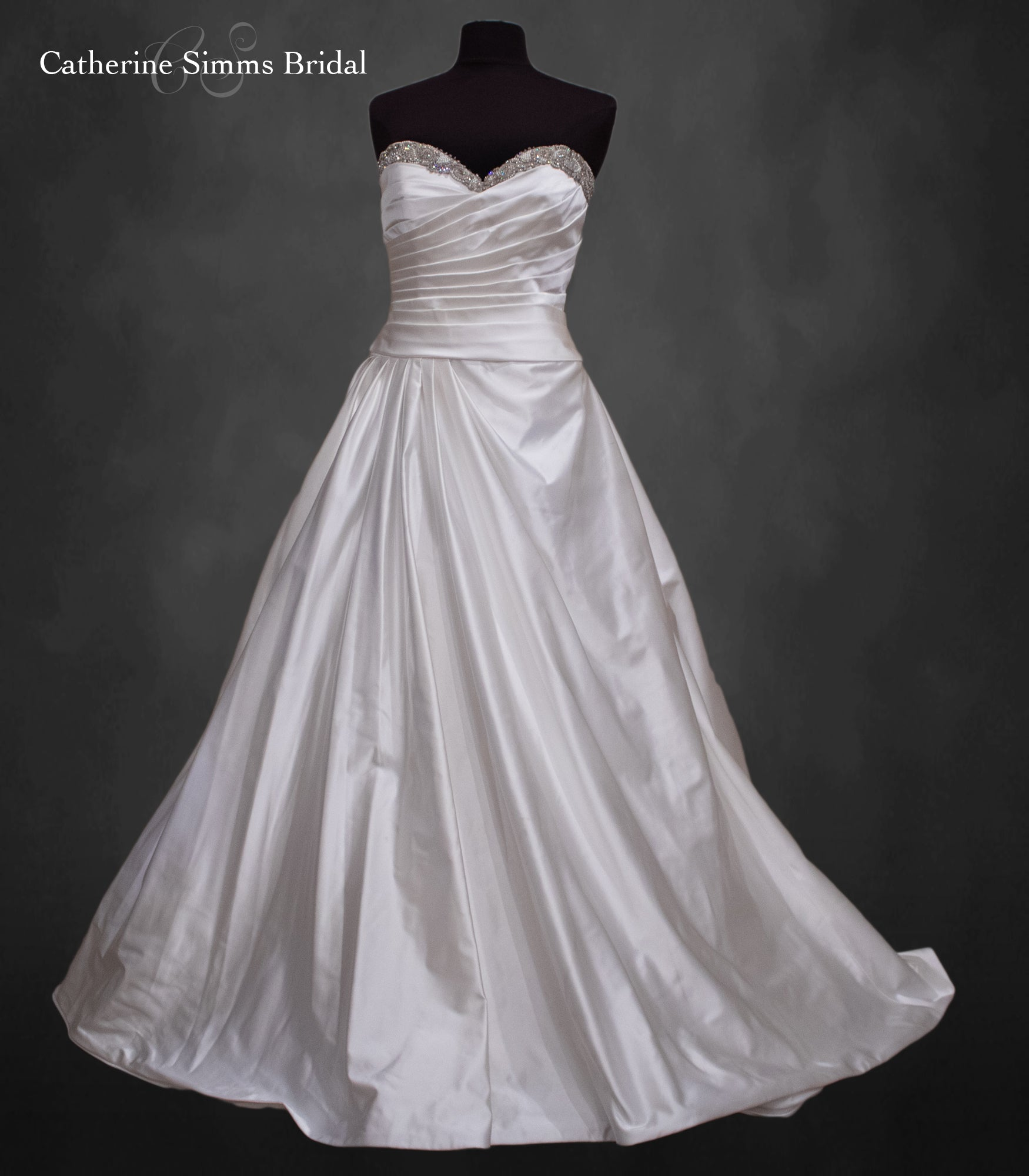 Beaded Sweetheart Neckline Gown
