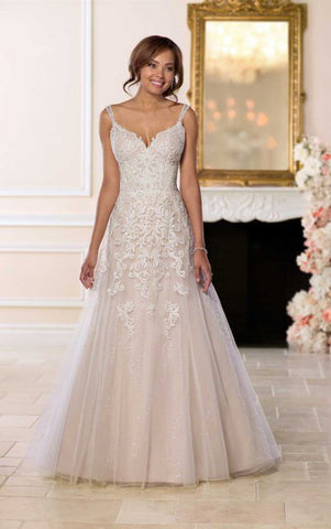 Open Back Wedding Dress with Beading by Stella York