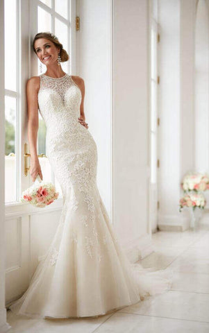 Elegant High Neck Wedding Dress with Lace by Stella York