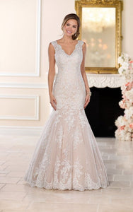 Lace Fit and Flare Wedding Gown with Silver Beading by Stella York