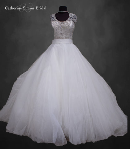 Capsleeve Beaded Top Ballgown