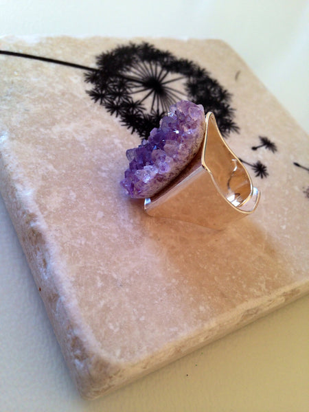 Amethyst Druzy Ring - Cute As A Button -  Silver