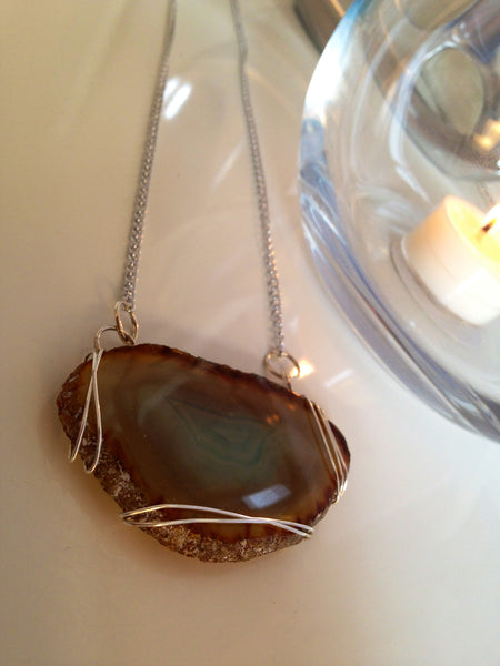 The Ocean - Agate Slice Necklace