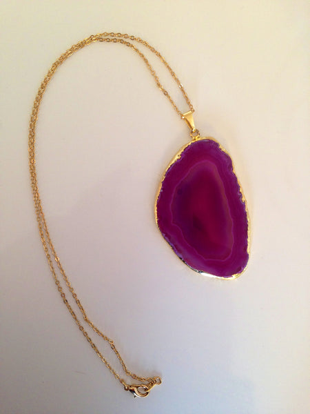 Gold Plated Agate Slice Necklace