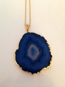 Blue Snowflake Agate Slice Necklace