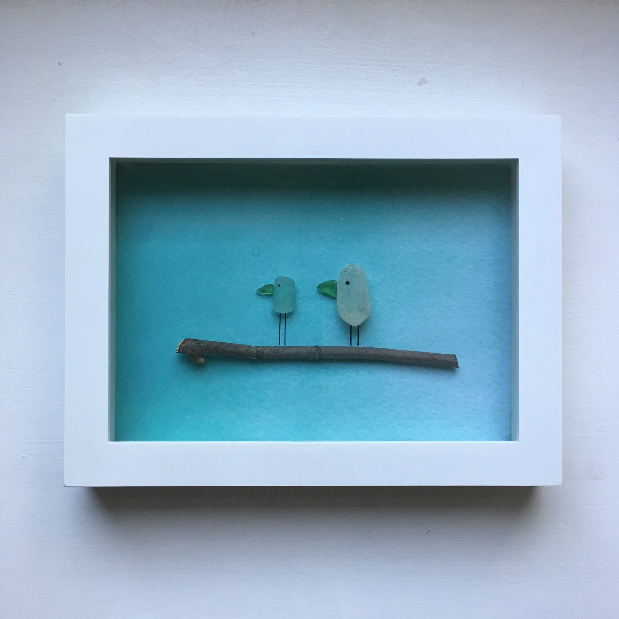 Framed Seaglass Art - Birds