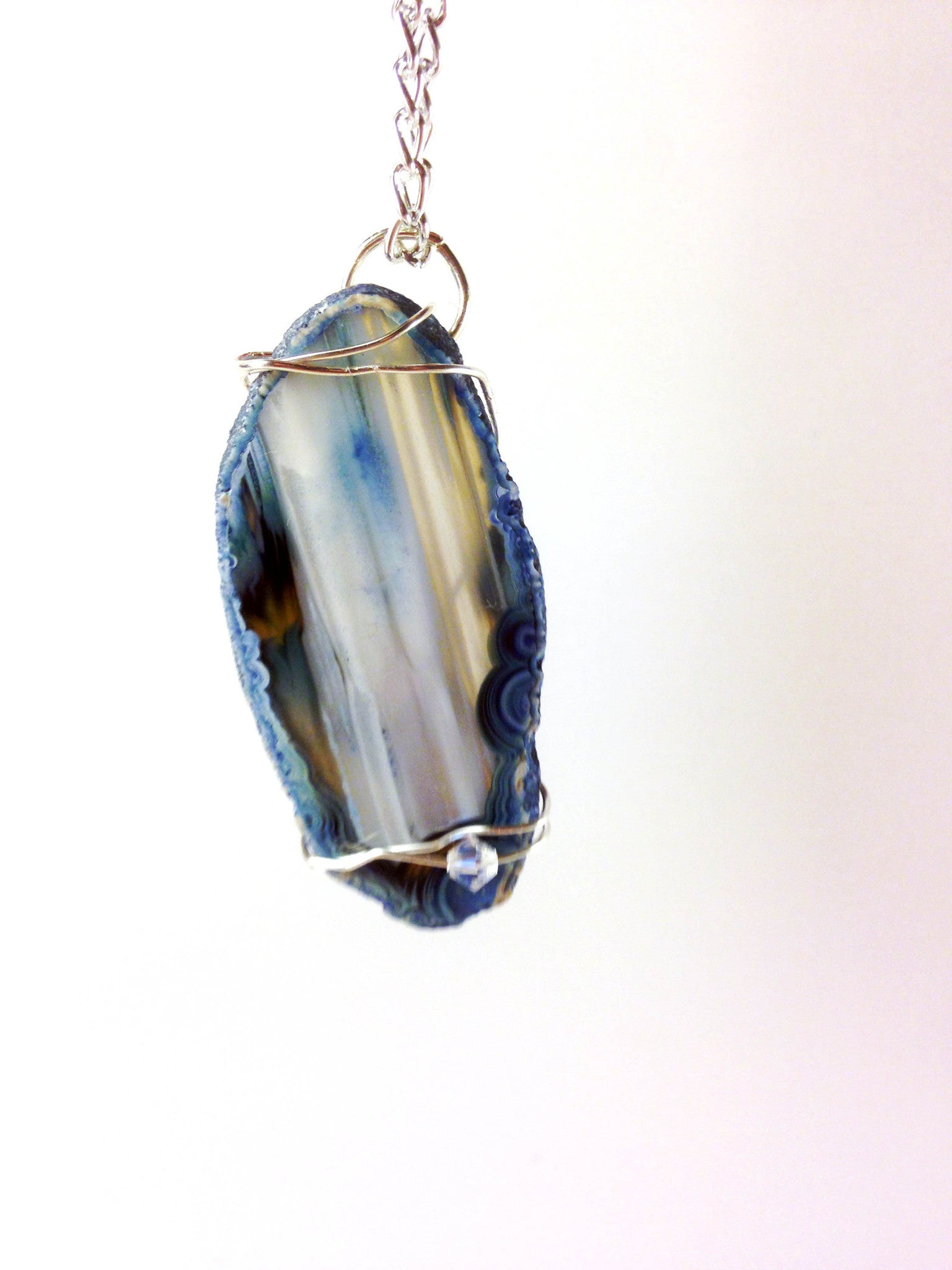 Steel Blue - Agate Necklace