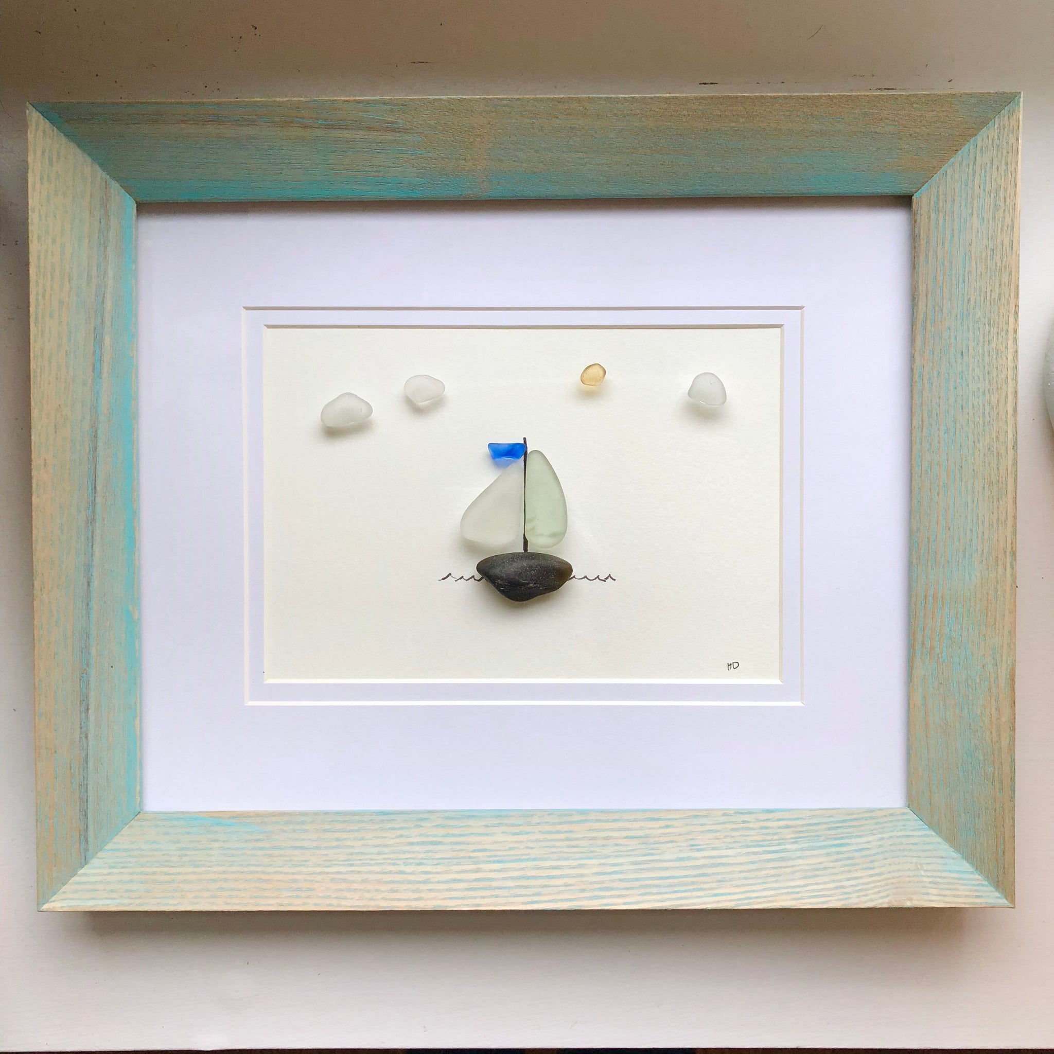 Sag Harbor Sailboat 8x10 Framed Seaglass Art