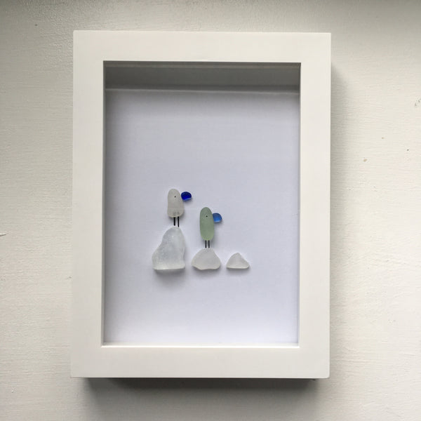 Beach Birds - Framed Seaglass Art