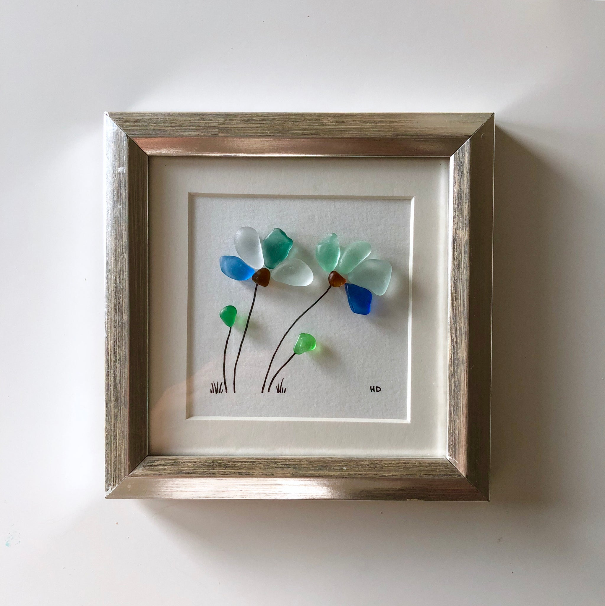 Petals In The Wind - 5x5 Framed Seaglass Art