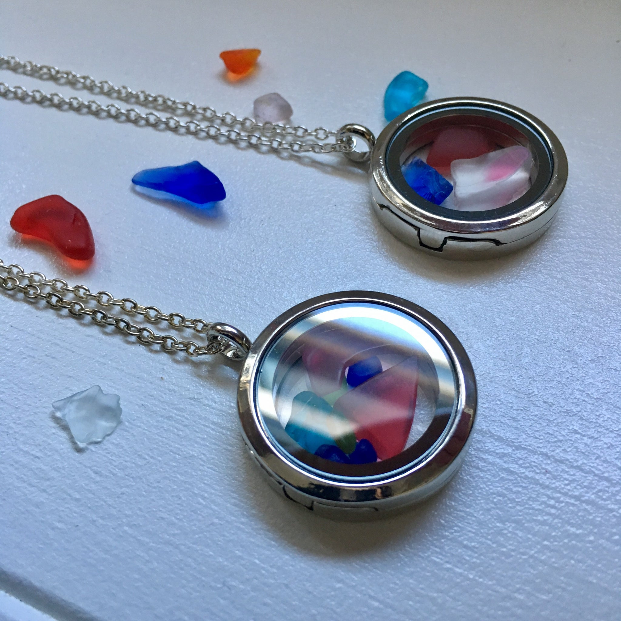 Two seaglass lockets for Melissa ( Custom order)