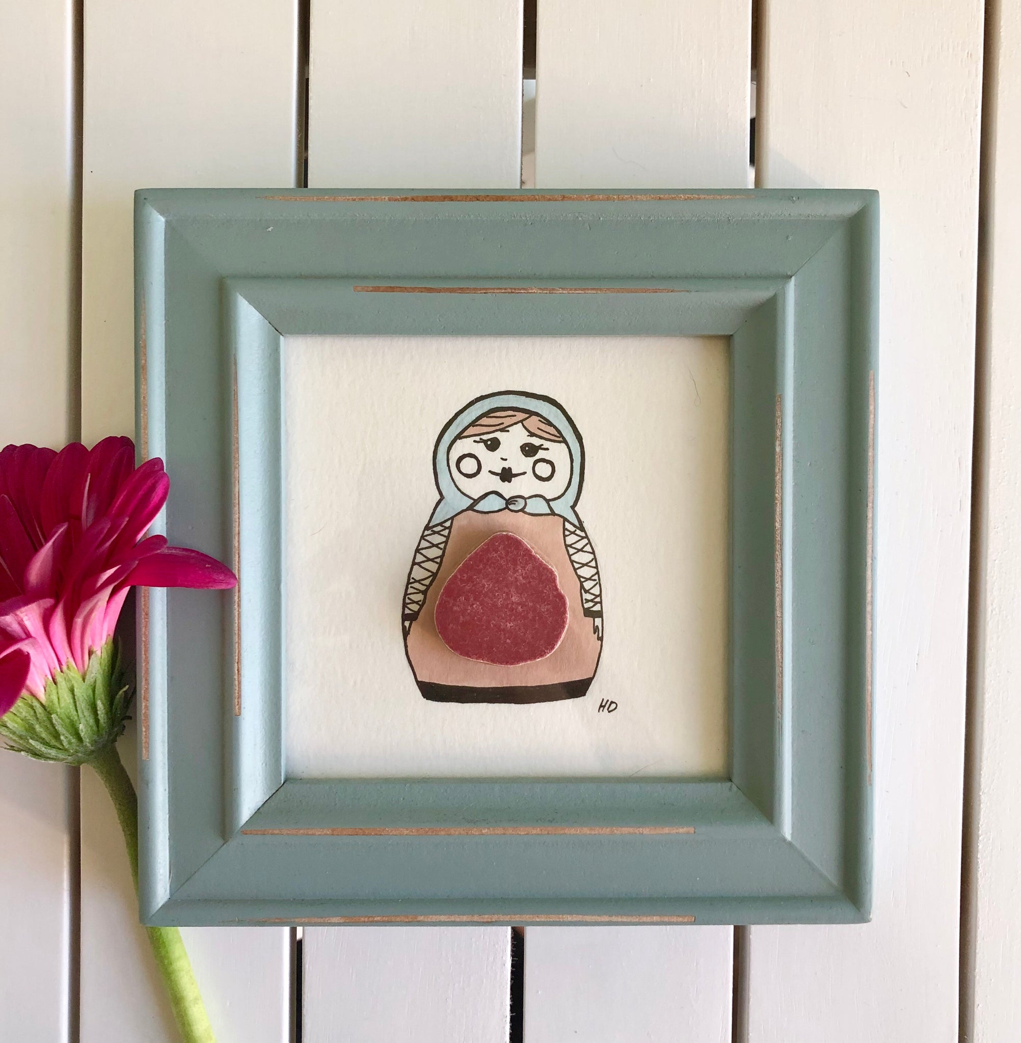 Babushka Grandmother - Seaglass Art