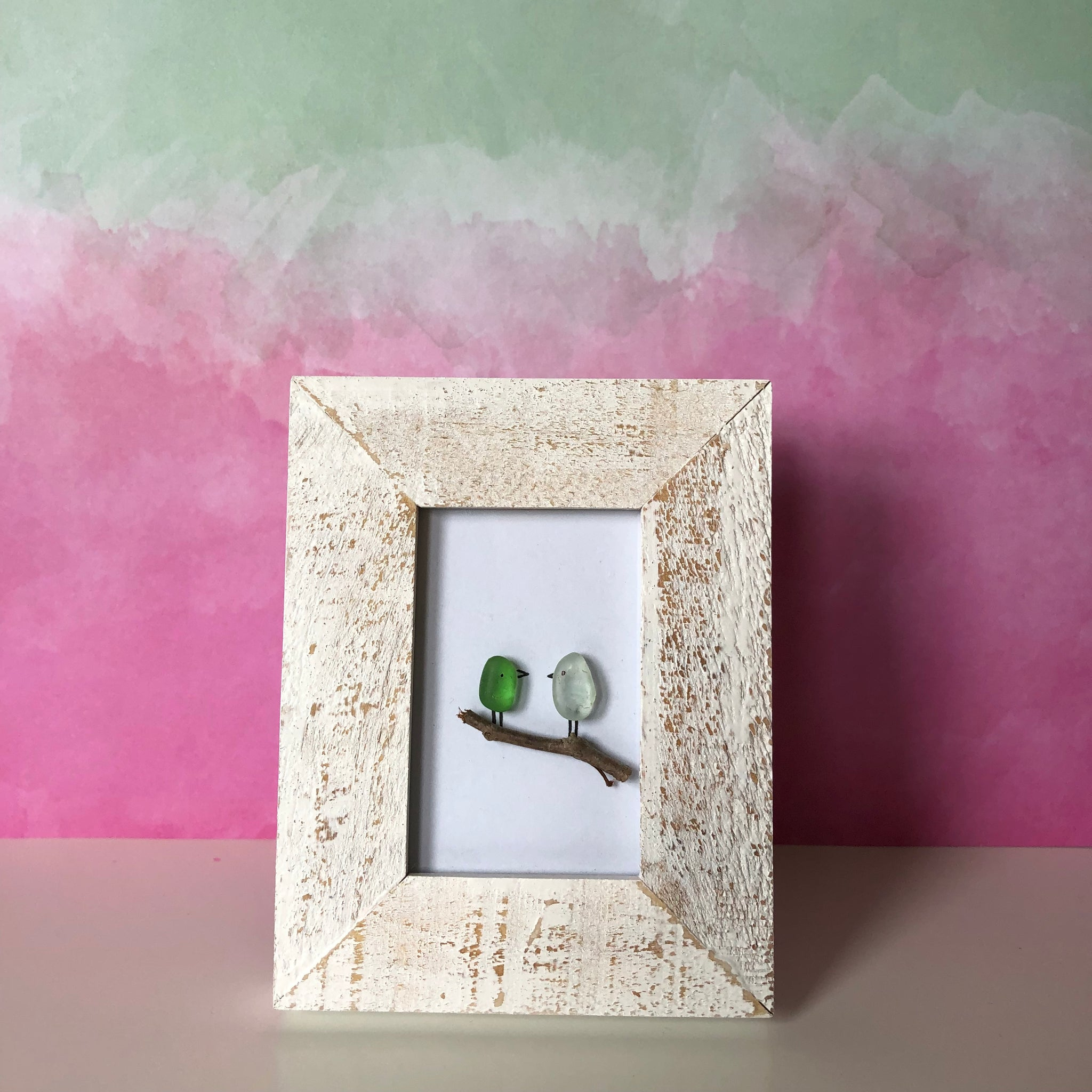 Tiny birds - Tiny Framed Seaglass Art