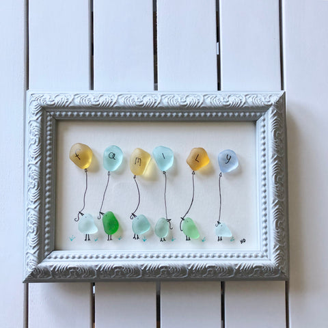 Birds & Balloons - Seaglass Art