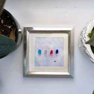 5x5 Summer Popsicles Framed Seaglass Art
