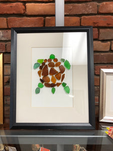 Sea Turtle - 8x10 Seaglass Framed Art