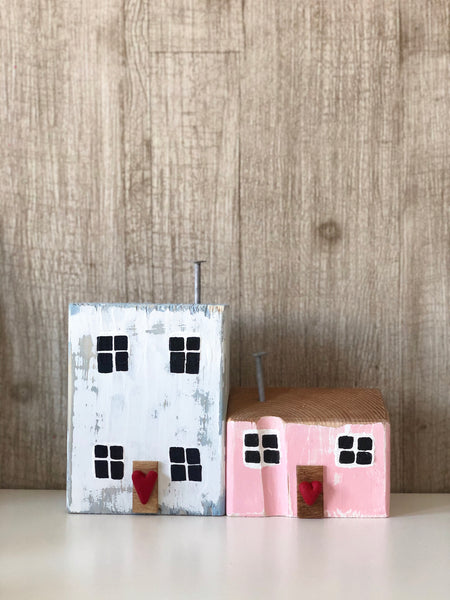 Vintage Victorian Pink & Veranda Blue - Handmade Miniature Seaside Cottage Folk Art Set