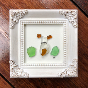 Puppy Life - Tiny Framed Seaglass Art