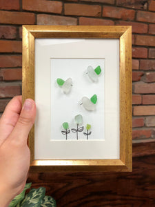 Humming Bird Garden - 5x7 - Framed Seaglass Art
