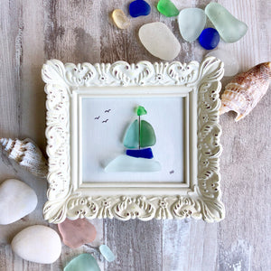 Sailboat in Louisbourg Harbor - Miniature Sea Glass Art