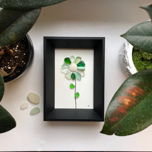Beach Flowers 5x7 Seaglass Art