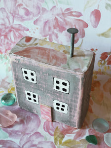 Floral Inspired Miniature Seaside Cottage Folk Art- Vintage Victorian Pink & Monument Grey