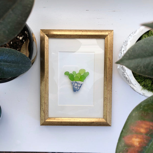 5x7 Potted Succulent Plant Framed Seaglass Art