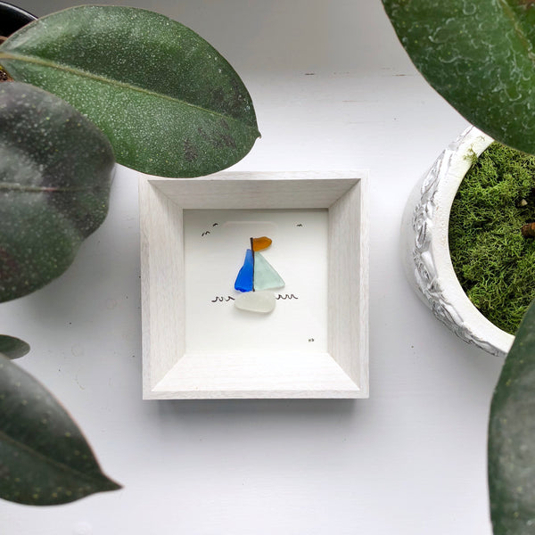 Sailboat Seaglass Art - 5x5 Framed Mini Seaglass Art