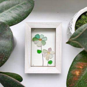Wildflowers - Framed Shadowbox Seaglass Art