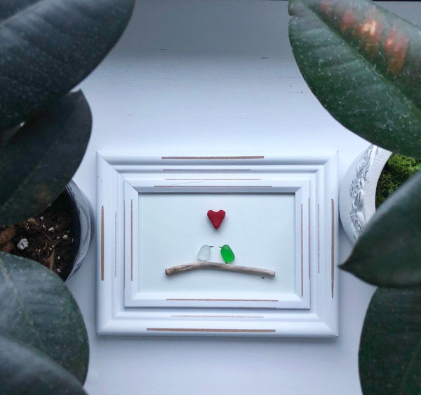 Love Birds Seaglass Art 4x6 Framed Coastal Art