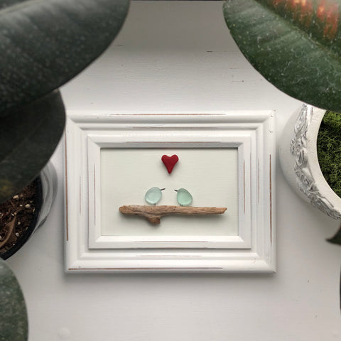 Robins Egg Blue - Love Birds Seaglass Art 4x6 Framed Coastal Art