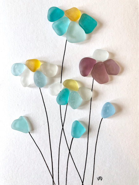 Wild Flowers - Hawaii Oahu Island Seaglass Art - 5x7